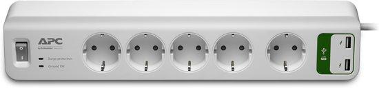 APC PM5U-GR Stekkerdoos met USB & overspanningsbeveiliging / 5x stopcontact + 2x USB