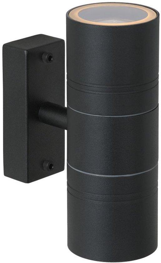 Lucide ARNE-LED - Wandspot Buiten - Ø 6,3 cm - LED - GU10 - 2x5W 2700K - IP44 - Zwart