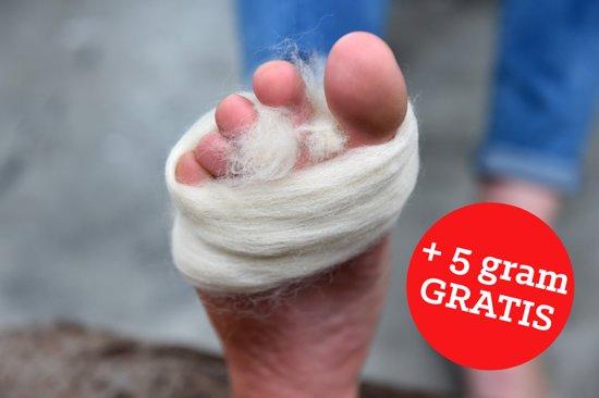 Merino antidrukwol 25 gram. Antidruk - Antiblaar. Bij blaren en voetongemak. Voor wandelaars, skiërs, (duur)sportbeoefenaars, mensen met voetproblemen.