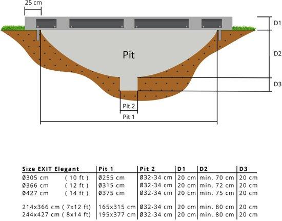 """""""EXIT Elegant Inground Trampoline 244 x 427 cm met Veiligheidsnet """""""