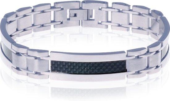030c4885d4c bol.com | Mendes edelstaal heren armband Carbon