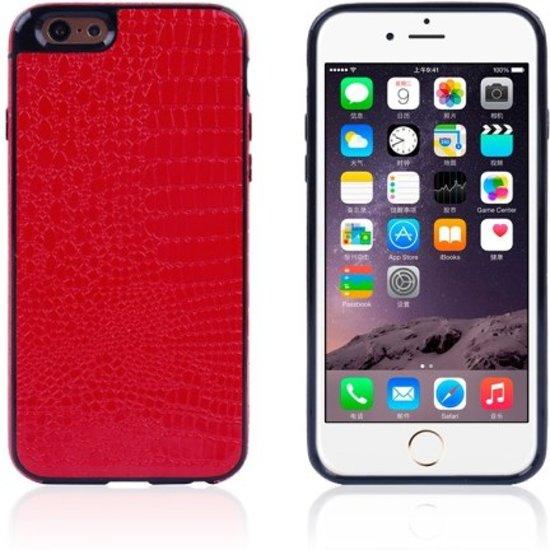 Crocodile TPU/PU Leren Softcase iPhone 6(s) plus - Rood