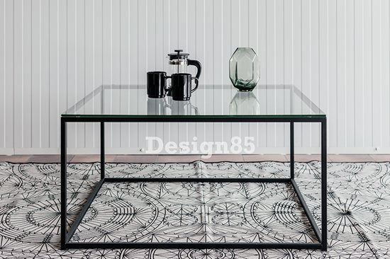 Zwarte Glazen Salontafels.Bol Com Design85 Salontafel Stalen Frame Glas 80x80x40