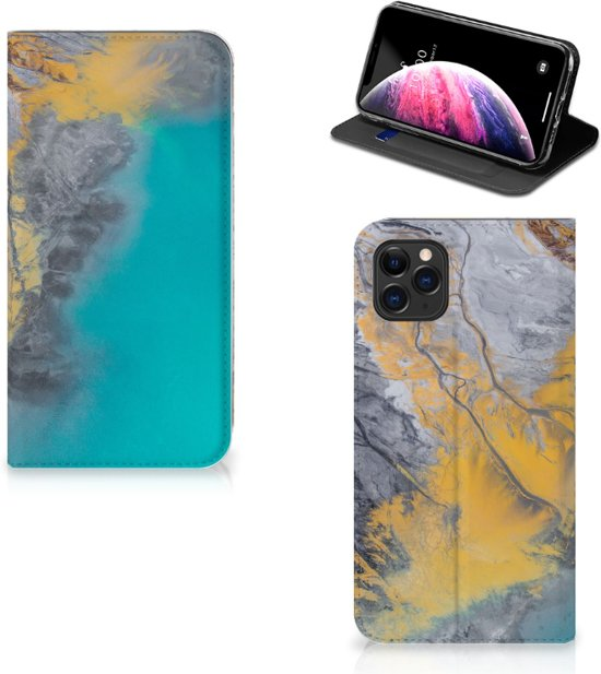 iPhone 11 Pro Max Standcase Marmer Blauw Goud