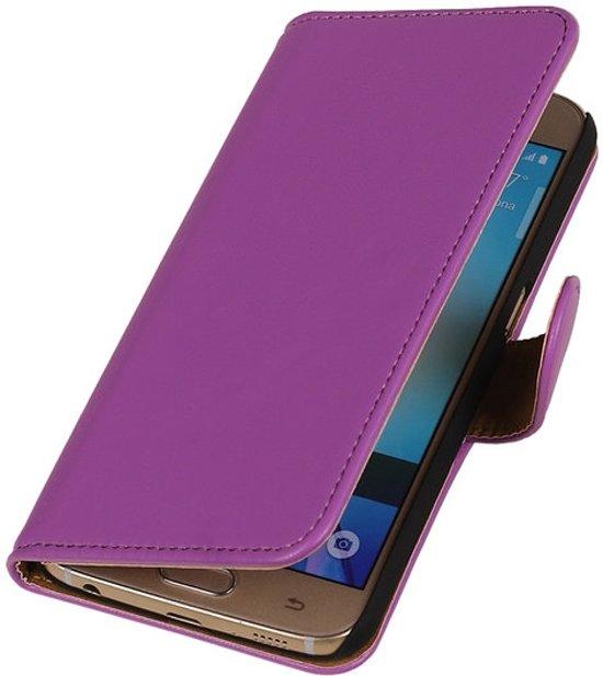 BestCases.nl Paars Leder Look Booktype wallet cover voor Apple iPhone 5 / 5s / SE in Oldekerk