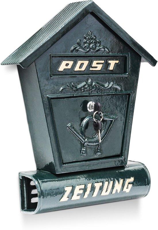 relaxdays brievenbus antiek met krantenrol muur brievenbus nostalgisch