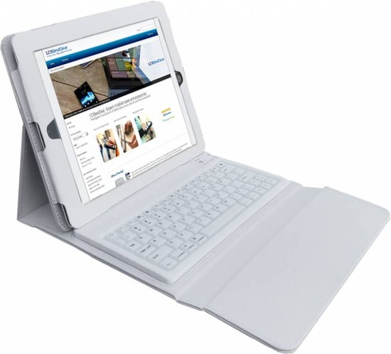 Bluetooth Keyboard Case voor de Apple Ipad 4, Hoes met Toetsenbord, Wit, merk i12Cover