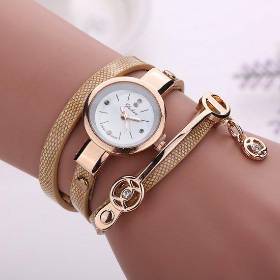 horloge met staal dun bandje met strass