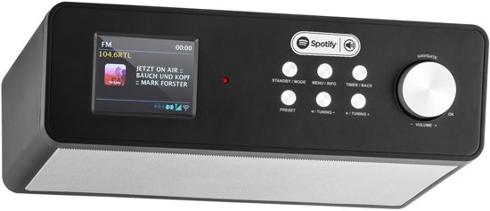 Auna KR200 onderbouw DAB keukenradio mediaspeler met WiFi, Spotify, USB - Zwart