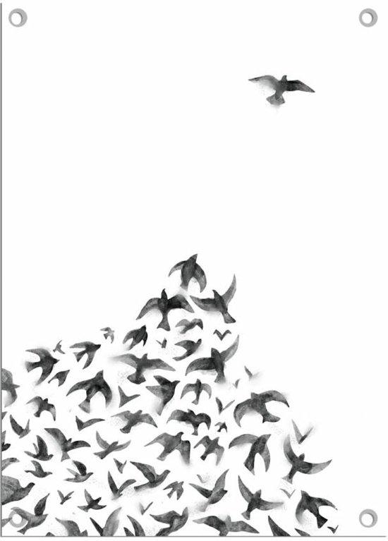 DesignClaud Tuinposter vogels zwart wit 50 x 70 cm