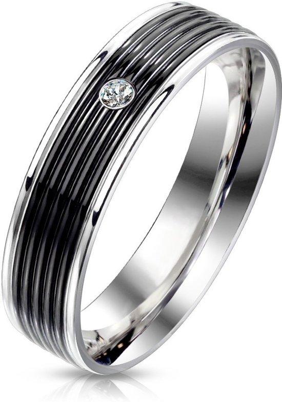 Ringen Mannen - Ring Mannen - Zilverkleurig - Zilveren Kleur - Ring - Met Zwart Middenstuk en Steentje - Pelora