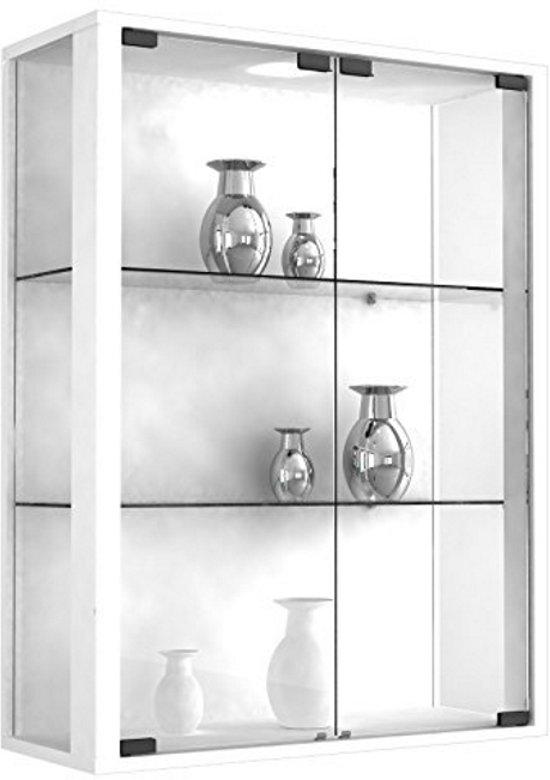 wandvitrine vitrinekast udina met led verlichting wit
