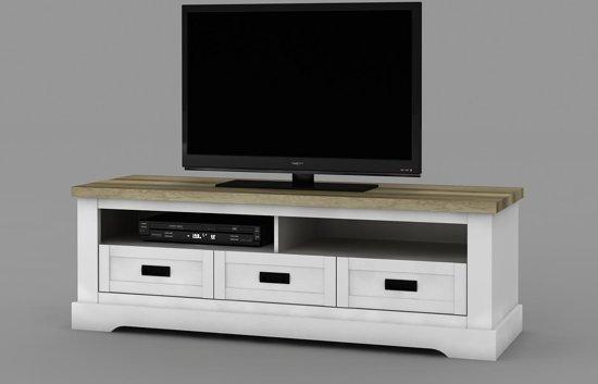 Landelijke Tv Kast White Wash Coventry 155 Cm