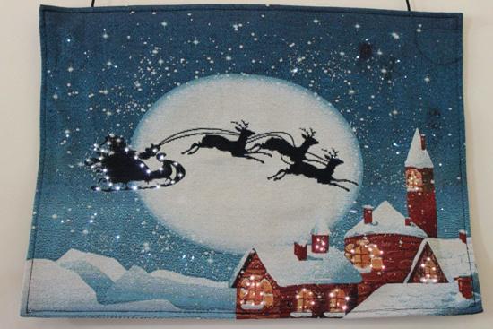 wandtapijt kerstman in arrenslee rendieren led en fiber optic verlichting kerst