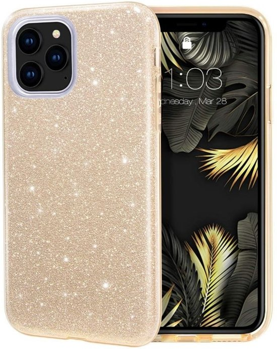 Teleplus iPhone 11 Pro Case Silvery Silicone Gold hoesje