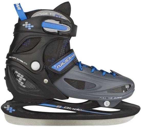 Nijdam 3024 Junior IJshockeyschaats - Verstelbaar - Hardboot - Grijs/Blauw - Maat 34-37,Nijdam