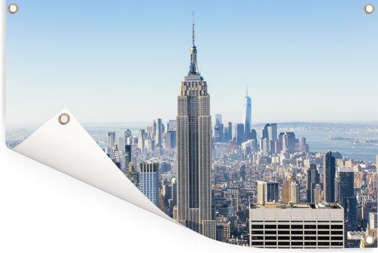 Skyline van New York met het Empire State Building Tuinposter 90x60 cm - Tuindoek / Buitencanvas / Schilderijen voor buiten (tuin decoratie)