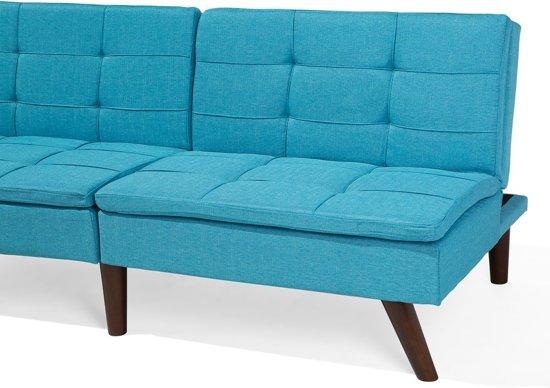 Slaapbank blauw - bank - bedbank - slaapsofa - bedsofa - stof - RONNE