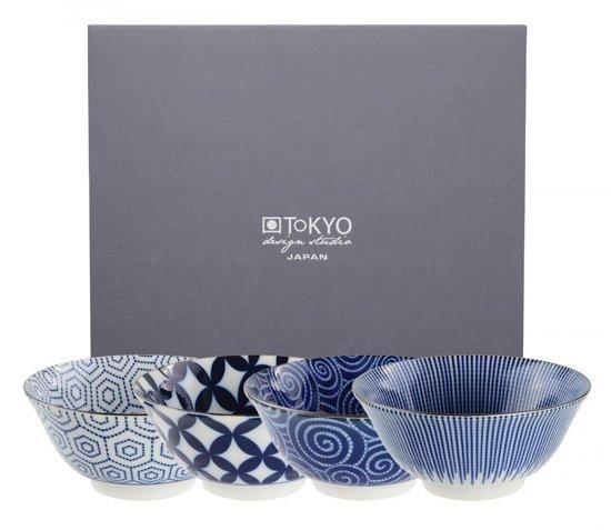 Tokyo Design Studio Kotobuki bowl set Kommenset Rond Blauw, Wit 4stuk(s)