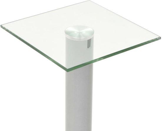 vidaXL Speakerstandaarden zuil-ontwerp gehard glas zilver 2 st