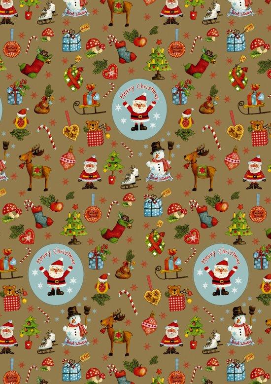 Goudkleurig kerst cadeaupapier inpakpapier Kerstfiguren - Toonbankrol breedte 50 (breedte rol)cm - 200m lang - K691780/3 -8-50cm