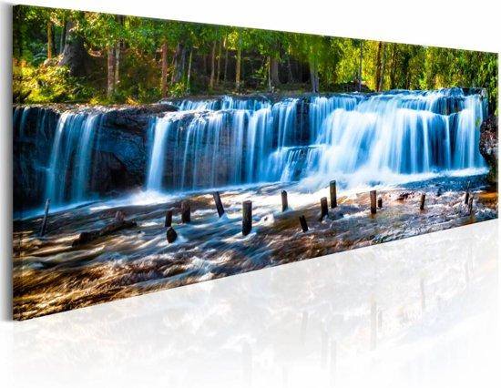 Schilderij - Prachtige waterval , groen blauw