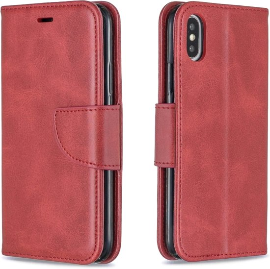 Let op type!! Retro Lambskin Texture Pure Color Horizontal Flip PU Leather Case for iPhone X / XS  with Holder & Card Slots & Wallet & Lanyard(Red)