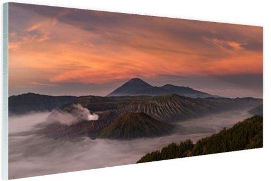 Bromo zonsopkomst met mist Glas 60x40 cm - Foto print op Glas (Plexiglas wanddecoratie)