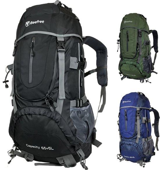 Beefree 70 Liter nylon Backpack - Zwart | Inclusief regenhoes | Frontlader