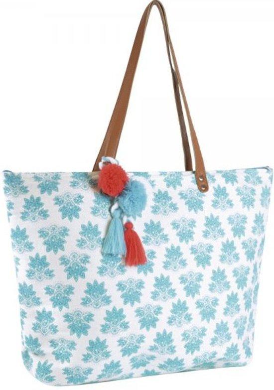 Luna Cove Bloemen Strandtas Shopper Canvas Blauw met Hanger
