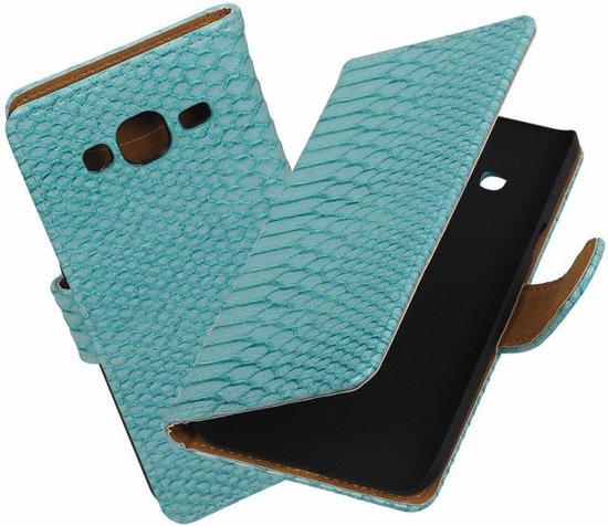 Mini Prijzen - Turquoise slang bookstyle hoesje voor de Samsung Galaxy On5 Book Case - Wallet - bookstyle - Flip Cover Samsung Galaxy On5 Bescherm Hoes - Telefoonhoesje - Smartphone hoesje in Hamme (O.-Vl.)