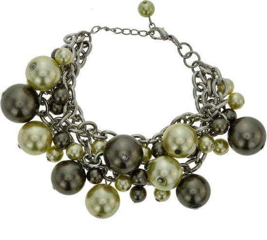 Armband met groene grote en kleine parels
