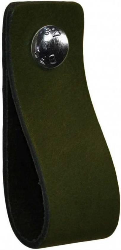 NiiNiiX Leren handgreep Khaki donker mos groen - Maat S 3,0 x 15 cm;