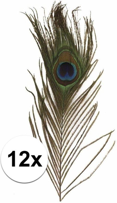 12x Pauwen veertjes / veren