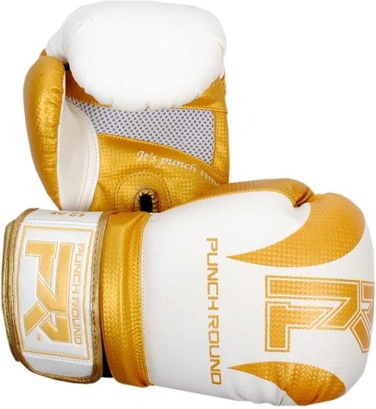 Punch Round (Kick)Bokshandschoenen SLAM Mat Carbon Wit Goud 14 OZ Bokshandschoenen