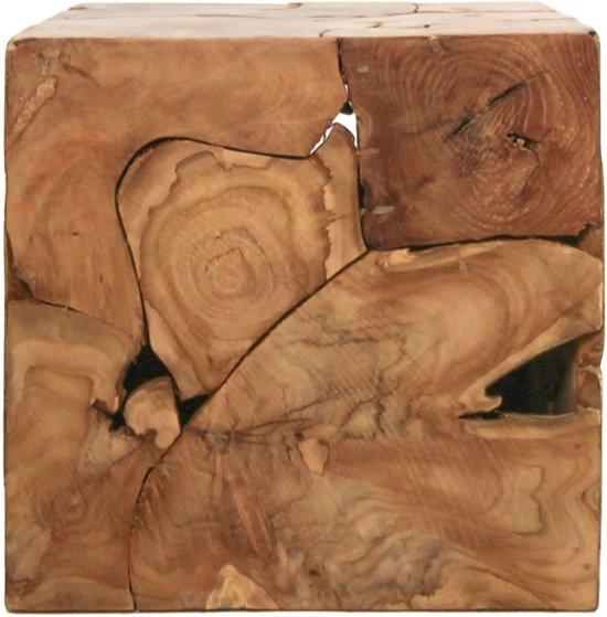 Bijzettafel Kubus Teak.Hsm Collection Kubus Bijzettafel 40x40 Cm Teak Natural Wax