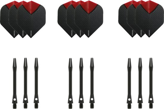 Dragon darts - 3 sets - XS100 Skylight - Rood - Darts flights - plus 3 sets - aluminium - darts shafts - zwart - medium