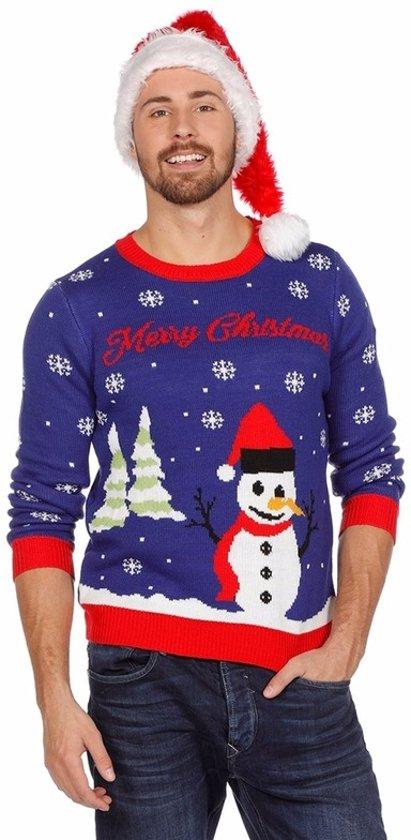 Blauwe kersttrui met sneeuwpop voor dames en heren - Unisex - foute kersttruien 56 (2XL)