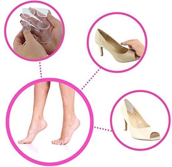 12 Siliconen voet en hielbescherming pads – Voorkomt blaren en pijn door schoen of hak – Voet en hielbeschermers - Anti-slip – 12 transparante gel inlegpads - One size