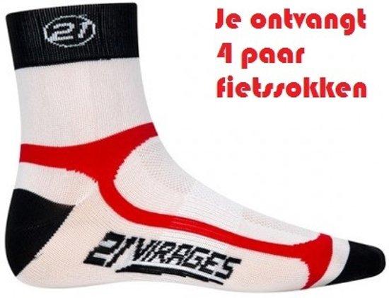 21Virages - Fietssokken - Dames - 32-36 - 4 paar - Wit/Zwart/Rood