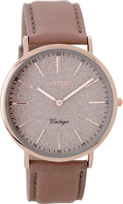 OOZOO Vintage Rose goud Horloge  (40 mm) - Bruin