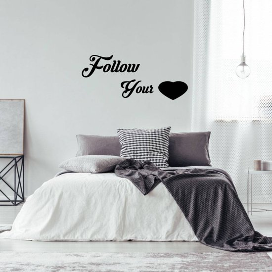 Muursticker Follow Your Heart -  Goud -  160 x 68 cm  - Muursticker4Sale