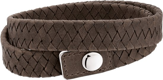 The Jewelry Collection For Men Armband Leer 15 mm 19 - 21 cm - Staal
