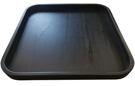 Dienblad Hout Groot 60x60cm Vierkant Zwart | Decoratieve Dienbladen Houten Accessoires | Schalen & Presenteerbladen Decoratief Dienblad Plateau | King Mungo