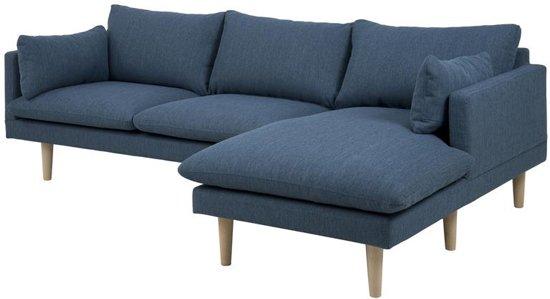 Bol fyn samanta zitsbank met chaise longue rechts stof blauw