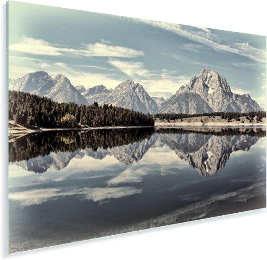 Weerspiegeling van het Tetongebergte in het stille water Plexiglas 120x80 cm - Foto print op Glas (Plexiglas wanddecoratie)