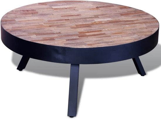 Bol.com vidaxl salontafel rond gerecycled teakhout