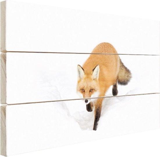 Sluipende rode vos Hout 120x80 cm - Foto print op Hout (Wanddecoratie)
