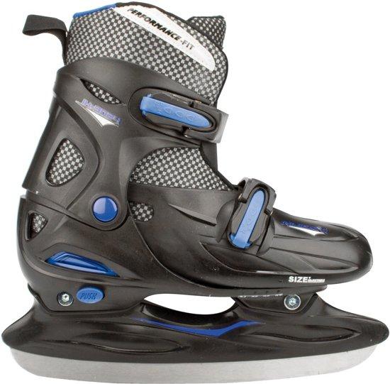Nijdam 3024 Junior IJshockeyschaats - Verstelbaar - Hardboot - Grijs/Blauw - Maat 27-30