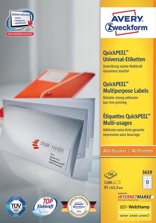 2x Avery witte etiketten QuickPeel 97x42,3mm (bxh), 1.200 stuks, 12 per blad, doos a 100 blad